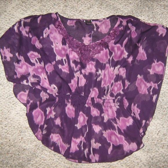 Wrapper Tops - Purple Gypsy Hippie Butterfly Flare Wing Blouse S